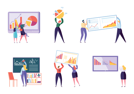 Different Character Business Analyst Set. People Make Chart and Analyzing Business Data. Flat Vector Cartoon Illustration Office Worker Working Infographic, Analysis Evolutionary Scale