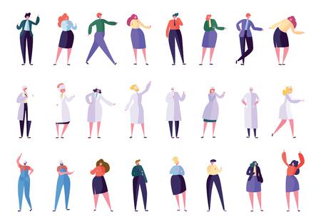 Kreative verschiedene Geschäftsberufsleute eingestellt. Geschäftsfigur in verschiedenen Lebensstilen: Direktor, Sekretär, Manager, Arzt, Krankenschwester, Vorarbeiter, Baumeister. Flache Cartoon-Vektor-Illustration