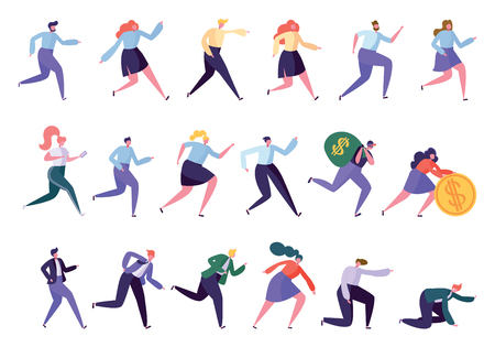 Different Running Character Reach Goal Success Set. Isolated People Run in Various Lifestyle Business Worker Leader Manager Robber Sportsman. Tired Worker Flat Cartoon Vector Illustration