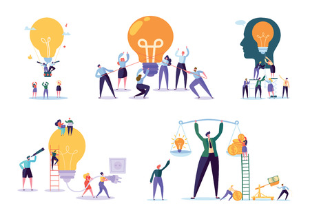 Character Working Together New Project. Business Concept Vector Illustration, Teamwork Help Achieve Idea, Light Lamp Bulb Shining, Idea Appear, Symbol Creativity Mind Thinking.