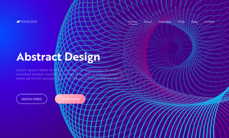 Purple Abstract Spiral Shape Landing Page Background. Futuristic Digital Helix Motion Gradient Pattern. Dynamic Neon 3d Colorful Layout Backdrop for Website Web Page Vector Illustration