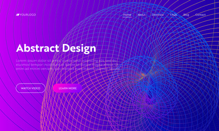 Purple Abstract Helix Shape Landing Page Background. Golden Ratio Digital Spiral Motion Gradient Pattern. Dynamic Neon 3d Colorful Template Backdrop for Website Web Page Vector Illustration