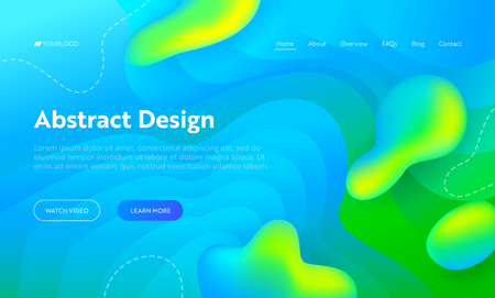Blue Abstract Wave Drop Shape Landing Page Background. Futuristic Digital Motion Bright Gradient Pattern. Creative Neon Glow Wavy Backdrop for Website Web Page. Flat Cartoon Vector Illustration 向量圖像
