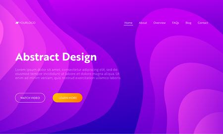 Purple Abstract Wave Shape Landing Page Background. Futuristic Digital Motion Gradient Pattern. Creative Dynamic Colorful Neon Wavy Minimal Backdrop Website Web Page. Flat Cartoon Vector Illustration Ilustracja