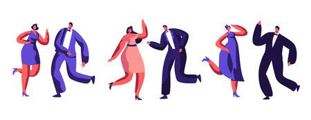 Dancing Party Celebration Dressed-up Adult People Dance Merry Music Together. Happy Relationship Atmosphere Joyful Dancer Rest Nightclub. Good Mood Behaviour Flat Cartoon Vector Illustration