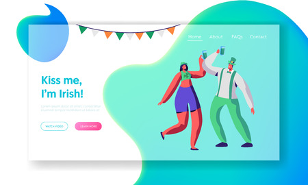 St Patrick Day Young Irish Couple Dance Landing Page. Happy People Celebrate Holiday Hold Beer Mug. Joyful Reveller Wear Green Clothes Website or Web Page. Flat Cartoon Vector Illustration