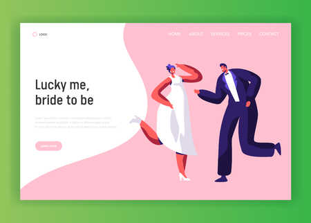 Happy Newlywed Couple Dance Wedding Party Landing Page. Merry Bride and Groom Celebrate Holiday Event. Smile Adult People Marriage Atmosphere Website or Web Page. Flat Cartoon Vector Illustration