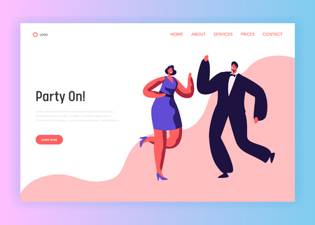 Dance Party Happy People Couple Landing Page. Merry Man Woman Character Celebrate Holiday Event. Nightclub Entertainment Good Mood Behavior Website or Web Page. Flat Cartoon Vector Illustration