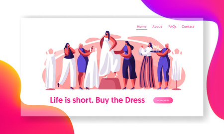 Bride Try on White Wedding Dress Landing Page. Prepare for Happy Marriage Ceremony. Bridesmaid Help Select Cute Gown. Traditional Bridal Shopping Website or Web Page. Flat Cartoon Vector Illustration Иллюстрация