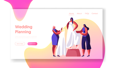 Bride Try on White Trial Wedding Dress Landing Page. Marriage Ceremony Preparation. Woman Help Select Fashion Gown. Traditional Bridal Shopping Website or Web Page. Flat Cartoon Vector Illustration 向量圖像