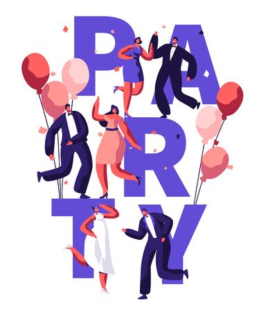 Dance Party Birthday Typography Banner. Event Celebration Disco Character on Balloon Invite Flyer. Modern Entertainment Motivation Poster Design Concept Flat Cartoon Vector Illustration Vector Illustration