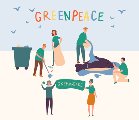 Greenpeace People Set Clean up Land Save Animal. Volunteer Group Prevent Global Pollution World and Pour Water Dolphin. Woman Hold Problem Eco Bio Lifestyle Banner. Flat Cartoon Vector Illustration