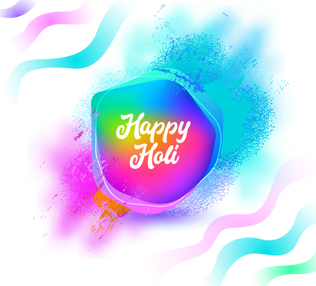 Happy Holi Color Wave Poster on White Background. Greeting Card with Lettering Typography Text Sign. Celebration Rainbow Wallpaper Banner Design Concept Flat Cartoon Vector Illustration