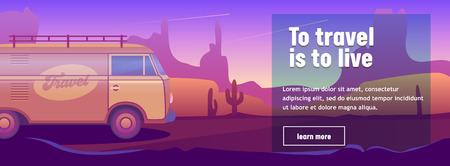 Bus de voyage classique hippie rétro en fond de paysage désertique. Concept de conception d'aventure de vacances. Bon pour la carte d'affiche de bannière publicitaire. Voyage dans la nature symbole plat Cartoon Vector Illustration Vecteurs