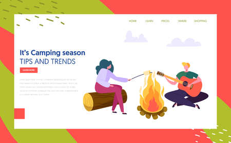 Man and Woman Character Playing Guitar Fries Marshmallow near Bonfire in Forest Landing Page. Nature Summer Outdoor Camping. Active Rest Concept Website or Web Page. Flat Cartoon Vector Illustration