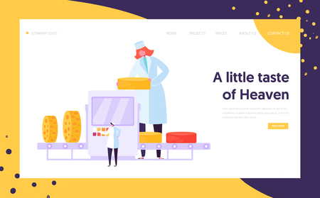 Man Woman Character at Cheese Packing Factory Line Landing Page. Organic Milk Food Making Concept. Pasteurization Machine Process Website or Web Page. Flat Cartoon Vector Illustration
