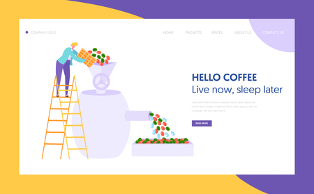 Coffee Roaster Metal Equipment Landing Page. Male Character Pours Grain. Cafeteria Concept Website or Web Page. Coffee Industry Production Technology Flat Cartoon Vector Illustration