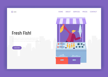 Male Seller Character Selling Fish and Seafood at Modern Street Store Landing Page. Fresh Food Farmer Organic Market Concept Website or Web Page. Healthy Ecomarket Flat Cartoon Vector Illustration Imagens - 123179636