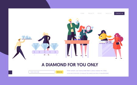 Jeweler Seller Hold Gem Landing Page. Woman Character Choose Luxury Diamond Ring at Store. Jewelry Industry Concept Website or Web Page. Wedding Symbol Flat Cartoon Vector Illustration Standard-Bild - 123179638