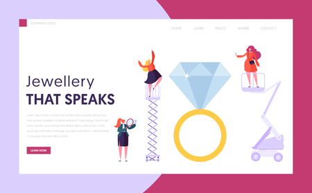 Jeweler Seller Hold Diamond Landing Page. Female Character Buy Ring at Gemstone Shop. Jewelry Industry Concept Website or Web Page. Luxury Wedding Symbol Flat Cartoon Vector Illustration