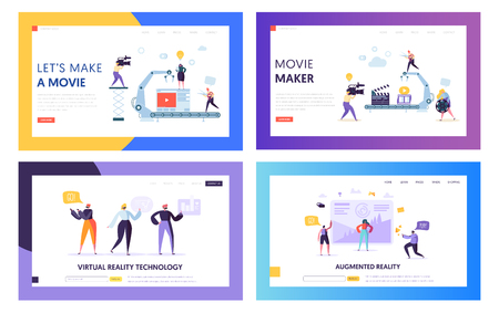 Movie Making Set Concept Landing Page. People Character with Camera Shooting Editing Film in Studio. Virtual Reality Technology Website or Web Page Flat Cartoon Vector Illustration