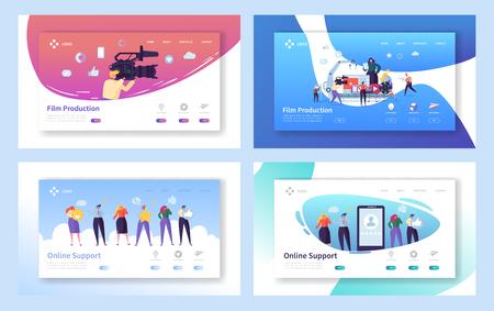 Filmproduktion Set Konzept Landing Page. Menschen-Charakter mit Kamera-Schießen-Bearbeitungs-Film. Online-Chat-Support-Technologie auf Smartphone-Website oder Webseite flache Cartoon-Vektor-Illustration