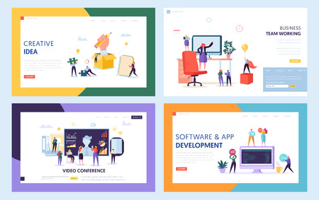 Creative Teamwork Concept Set Landing Page. People Character at Video Conference Meeting. Work Together for New Idea Website or Web Page. Java Software Support Flat Cartoon Vector Illustration