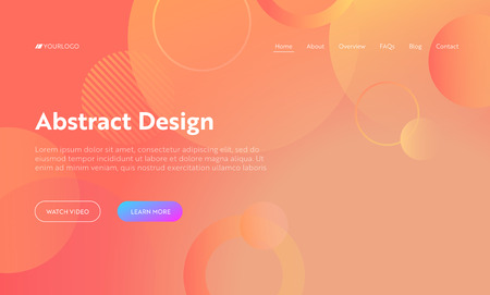 Coral Abstract Circle Shape Landing Page Background. Orange Digital Round Motion Gradient Pattern. Dynamic Light Flat Colorful Template Backdrop for Website Web Page Vector Illustration