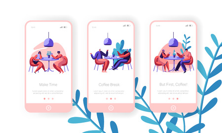People Drink Coffee Mobile App Page Onboard Screen Set. Man and Woman Talking at Cafe Table. Business Lunch Concept for Cafeteria Website or Web Page. Flat Cartoon Vector Illustration