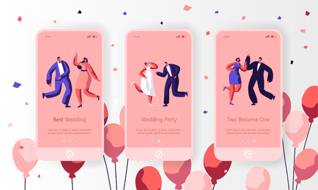 Happy Wedding Dancing Character Mobile App Page Onboard Screen Set. Fun Married Couple Celebrate Holiday Event. Newlywed Engagement Website or Web Page. Flat Cartoon Vector Illustration Illustration