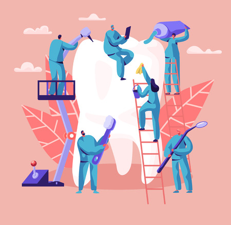 Dentist Character Care of Big White Tooth. Dental Clinic Background. Medicine People Work in Stomatology with Toothbrush and Toothpaste. Oral Surgery Abstract Concept Flat Cartoon Vector Illustration