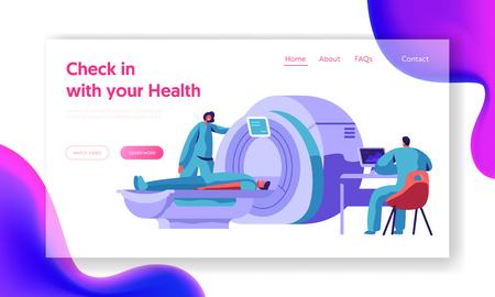 Szpitalna maszyna Mri do skanowania mózgu pacjenta. Lekarz badania zdrowia postaci człowieka z tomografii komputerowej skaner diagnostyczny koncepcja witryny lub strony sieci Web. Ilustracja wektorowa płaskie kreskówka