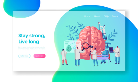 Laboratory Scientist Group Study Human Brain and Psychology Landing Page. Medical Research Microscope. Head Tomography Diagnostics Hemisphere Website or Web Page. Flat Cartoon Vector Illustration Ilustração