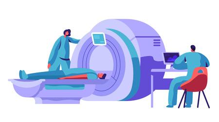 Máquina de resonancia magnética hospitalaria para escaneo cerebral del paciente. Doctor Research Man Character Health con escáner de resonancia de tomografía computarizada. Ilustración de Vector de dibujos animados plana de concepto de diagnóstico de salud Ilustración de vector