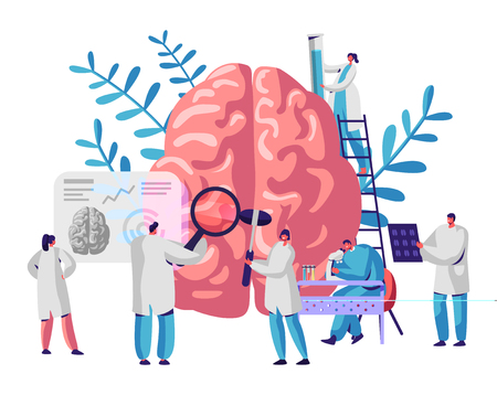 Laboratory Scientist Group Study Human Brain and Psychology. Medical Research Microscope. Head Tomography. Chemical Experiment. Diagnostics Development Hemisphere. Flat Cartoon Vector Illustration Foto de archivo - 123179662