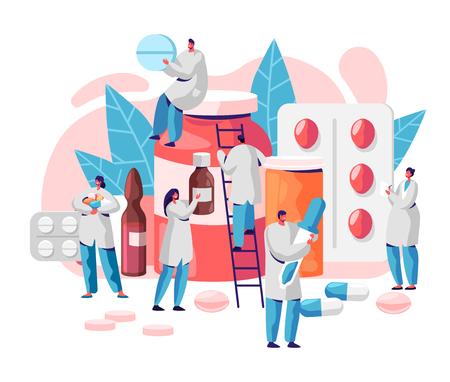 Pharmacie Business Medicine Drug Store Caractère. Soins du pharmacien pour le patient. Sciences pharmaceutiques professionnelles. Fond d'infographie de pharmacie de pilule en ligne. Illustration vectorielle de dessin animé plat