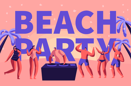Summer Beach Party Vacation Rave Typography Banner. Tropical Club Dj Play Music for People Outdoor. Character Dance at Holiday Event Advertising Poster Flat Cartoon Vector Illustration Reklamní fotografie - 118161174