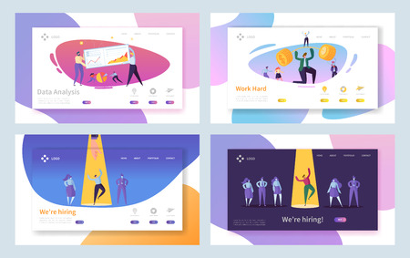 Business Job Recruitment Hard Work Landing Page Set. Recruitment Choice Interview. Hard Investment Progress Character with Barbell Website or Web Page. Flat Cartoon Vector Illustration
