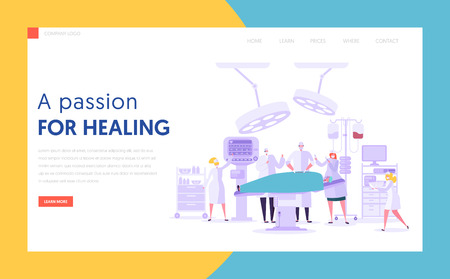 Medical Character Performing Surgery Operation Concept Landing Page. People Team in Modern Operating Room with New Equipment. Medical Hospital Website or Web Page. Flat Cartoon Vector Illustration