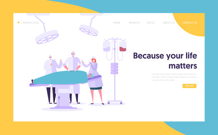 Medical Team Performing Surgery Operation Concept Landing Page. Doctor Assistant and Nurse Character Operate Patient. Medical Clinic Website or Web Page. Flat Cartoon Vector Illustration