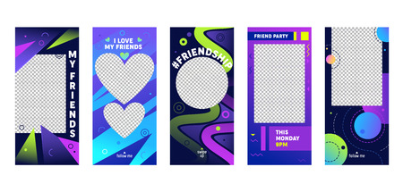 Story Colorful Template Mobile App Page Onboard Screen Set. Friendship Blue Violet Green Design Banner. Can Use Social Media Background Website or Web Page. Flat Cartoon Vector Illustration