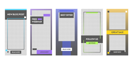Story Best Sale Offer Mobile App Page Onboard Screen Set. Fun Modern Square Blue Yellow Green Design. Social Media Background Website or Web Page. Flat Cartoon Vector Illustration