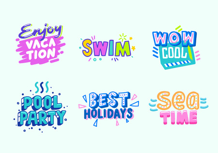 Summer Beach Vacation Tropical Banner Design Set. Paradise Pool Party Typography Poster Template. Marketing Advertising Badge for Best Sea Time Event Flat Cartoon Vector Illustration Çizim