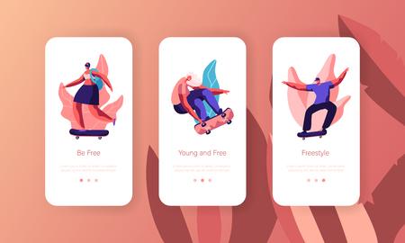 People Character Skate Skateboard Mobile App Page Onboard Screen Set. Skater Girl on Alternative Summer Transport Longboard Cool Freedom Lifestyle Website or Web Page. Flat Cartoon Vector Illustration