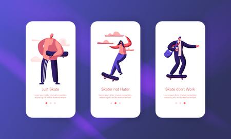 Hipster Boy Character Skate Skateboard Mobile App Page Onboard Screen Set. Skater Girl on Cool Summer Modern Longboard Freedom Lifestyle Website or Web Page. Flat Cartoon Vector Illustration