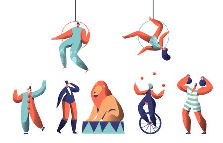 Espectáculo de circo de bienvenida con acróbatas payasos aéreos y conjunto de animales. Equilibrio de malabarista de mujer en monociclo. Strongman levanta pesas. León entrenado en la arena con un entrenador. Ilustración de vector de dibujos animados plana