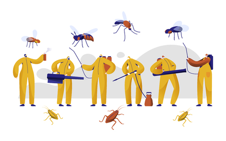 Mosquito Pest Control Professional Character Set. Man in Uniform Fight with Insect with Chemical Insecticide Fogging Spray. Cockroach Toxic Protection Fumigation Flat Cartoon Vector Illustration Stok Fotoğraf - 118851173