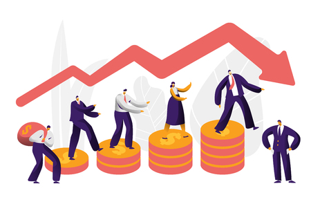 Financial Risk Business Character Arrow Concept. Businessman Walk on Coin Investing Failure Insurance. People Work at Danger Graph Stability. Economy Market Bankrupt Flat Cartoon Vector Illustration