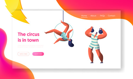 Circus Carnival Show with Strongman and Aerialists Landing Page. Woman Gymnast Balance in Air. Man Lift Dumbbell. Gymnast Scene on Arena Website or Web Page. Flat Cartoon Vector Illustration