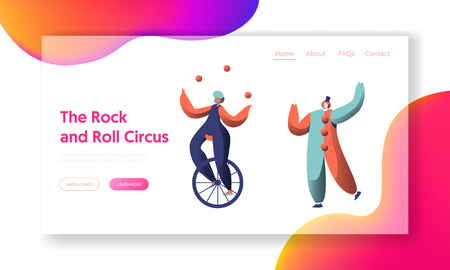 Fun Circus Show with Clown Unicycle Acrobat Landing Page. Woman Cyclist Juggler Balance. Holiday Carnival Scene Show. People Character Performer Website or Web Page. Flat Cartoon Vector Illustration Illustration
